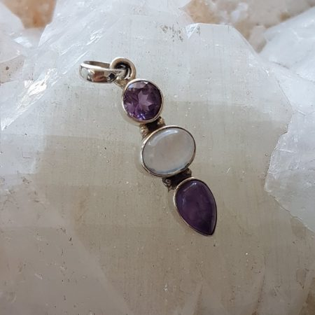 Petite Pedant with Amethyst and Moonstone Healing Crystals