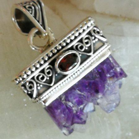 Amethyst and Garnet Healing Crystal Pendant