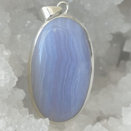 Blue Lace Agate Pure Energy Healing Crystal Pendant