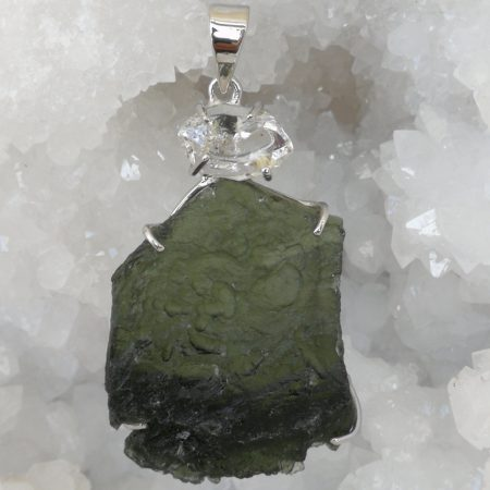 Moldavite and Herkimer Pure Energy Healing Crystal Pendant