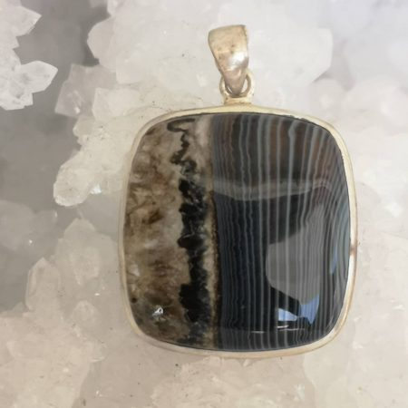 Black Lace Healing Crystal Pendant in Sterling Silver