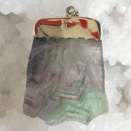 Fluorite Healing Crystal Pendant in Silver Mark Bajerski