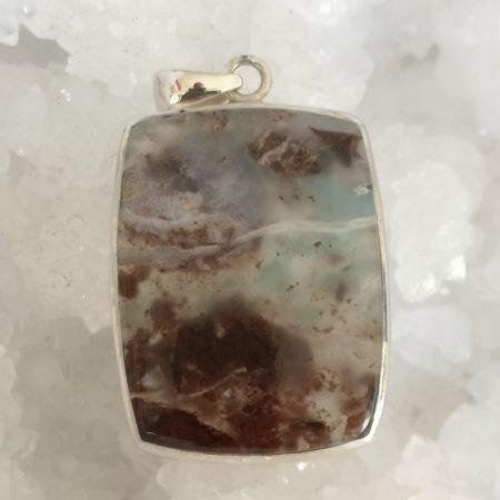 Moss Agate High Grade Healing Crystal Pendant in Sterling Silver