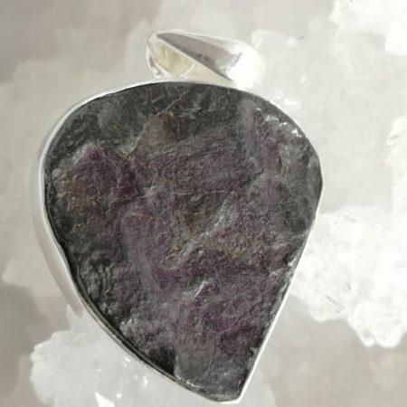 Purpurite Healing Crystal Pendant in Silver