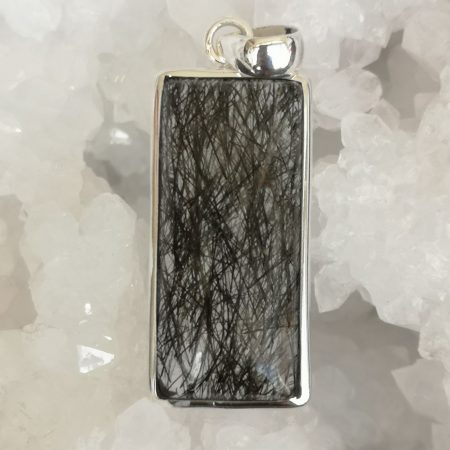 Rutilate Quartz Black Healing Crystal Pendant in Sterling Silver
