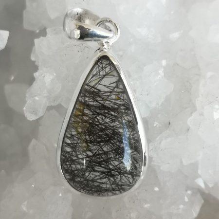 Rutlilate Quartz Black Healing Crystal Pendant in Sterling Silver