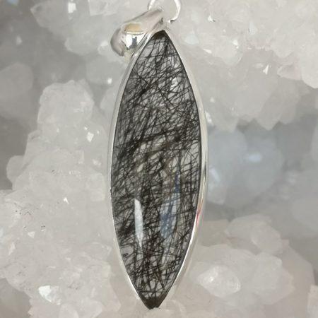 Rutilate Quartz Black Healing Crystal Pendant in Sterling Silver