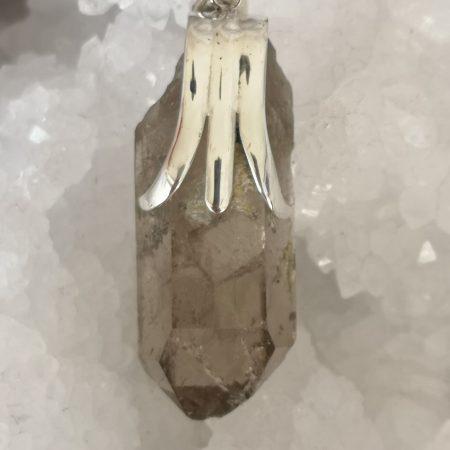 Smokey Quartz Healing Crystal Pendant in Sterling Silver Mark Bajerski