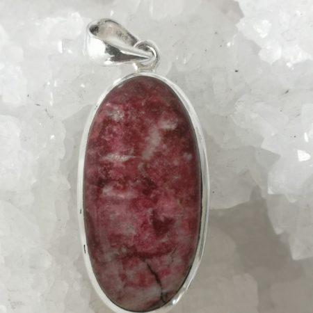 Thulite Healing Crystal Pendant in Silver