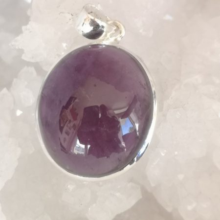 High Grade Amethyst Healing Crystal Pendant in Silver