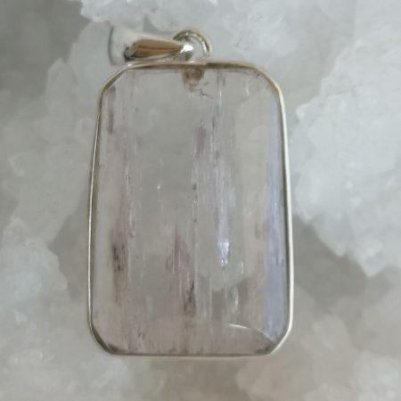 Kunzite Healing Crystal Pendant in Silver