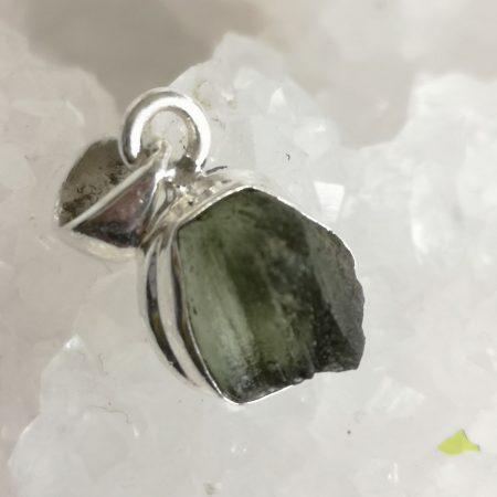 Moldavite Healing Crystal Pendant in Silver 2.34 grams
