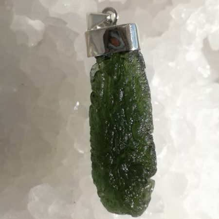 Moldavite Grade A Healing Crystal Pendant in Silver 11.52 grams