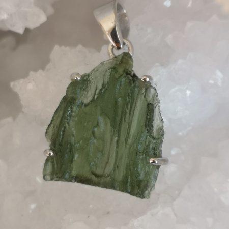 Moldavite Grade A Healing Crystal Pendant in Silver 4.85 grams
