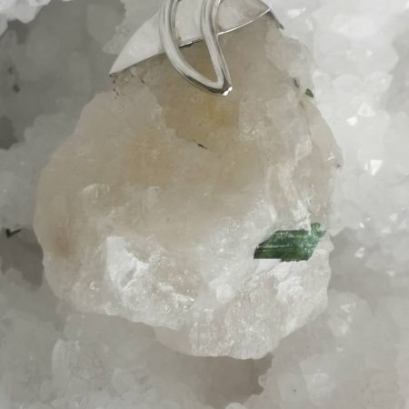 Large Tourmaline Green with Quartz Healing Crystal Pendant by Mark Bajerski 73.03 grams