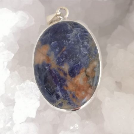 Sodalite Healing Crystal Pendant in Silver