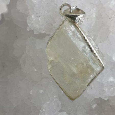 Beryl Healing Crystal Pendant in silver design by Mark Bajerski, rare specimen