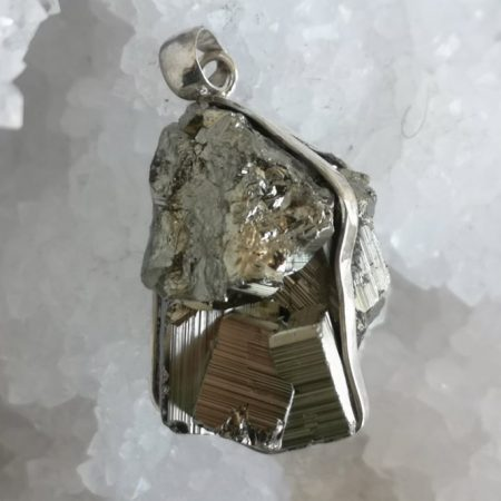 Pyrite Healing Crystal Pendant in silver design by Mark Bajerski