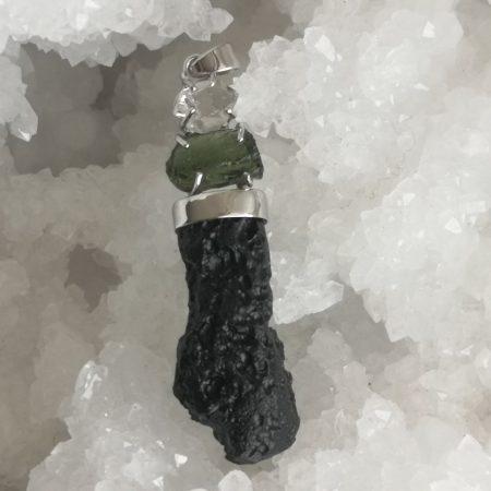 Moldavite Herkimer diamond tektite Healing crystal Pendant 24.51 grams