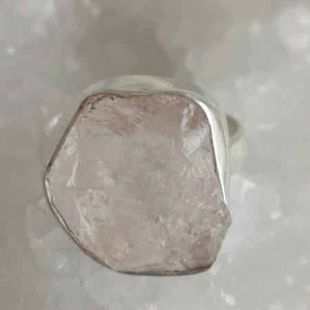 Rose Quartz Healing Crystal Ring US size 9