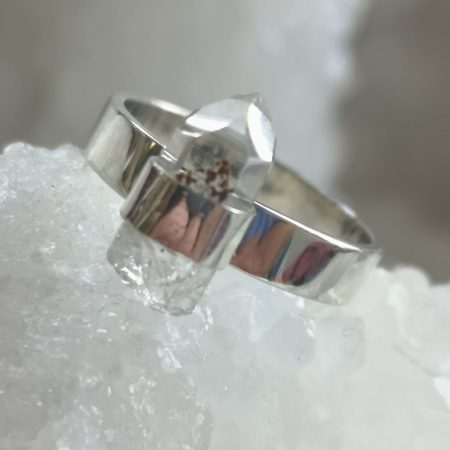 Clear Quartz Healing Crystal Ring design by Mark Bajerski US Size 7
