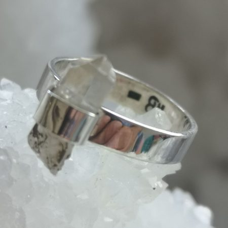 Clear Quartz Healing Crystal Ring design by Mark Bajerski US Size 9