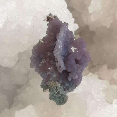 Chalcedony Grape Healing Crystal Pendant High Quality