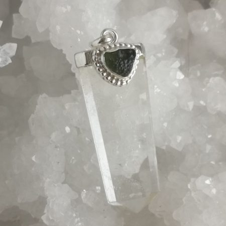 Moldavite and Clear Quartz Healing Crystal Pendant