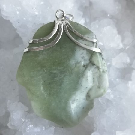 HQ Prehnite with Epidote and Black Tourmaline Healing Crystal Pendant by Mark Bajerski