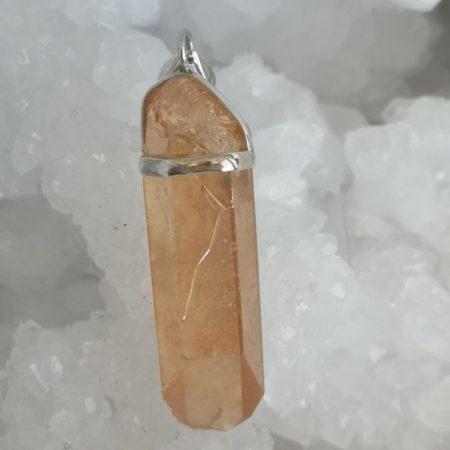 HQ Tangerine Aura Healing Crystal Pendant by Mark Bajerski