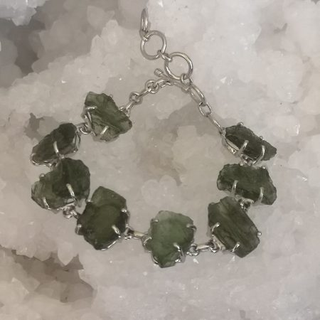 Moldavite 8 slices Bracelet 23.36 grams in sterling silver