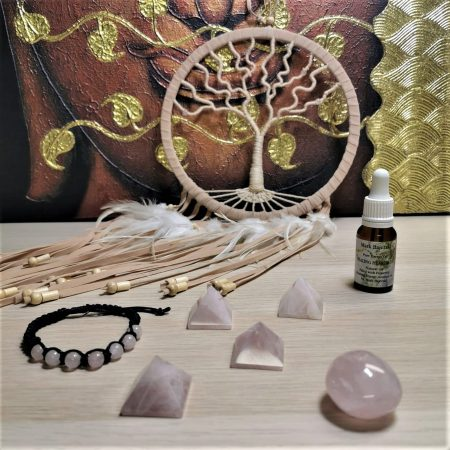 Rose Quartz Healing Crystals and Dream Catcher by Mark Bajerski