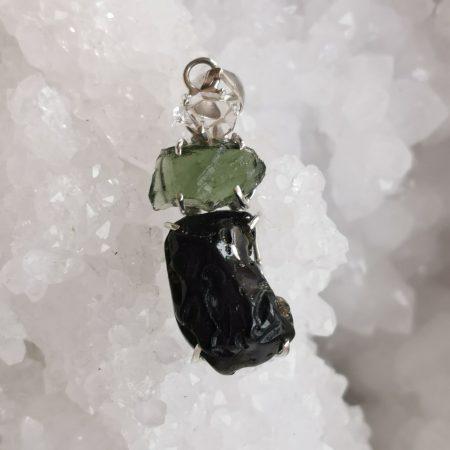 HQ Moldavite Herkimer Diamond Tektite Trio Pendant by Mark Bajerski 6.40 grams