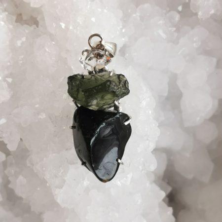 HQ Moldavite Herkimer Diamond Tektite Trio Pendant by Mark Bajerski 8.20 grams