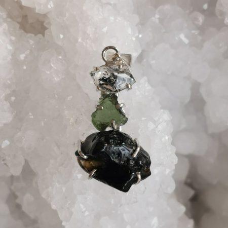 HQ Moldavite Herkimer Diamond Tektite Trio Pendant by Mark Bajerski 5.80 grams