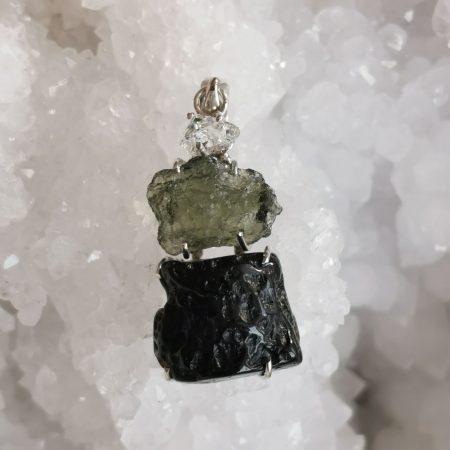 HQ Moldavite Herkimer Diamond Tektite Trio Pendant by Mark Bajerski 7.50 grams