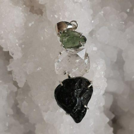 HQ Moldavite Herkimer Diamond Tektite Trio Pendant by Mark Bajerski 10.70 grams