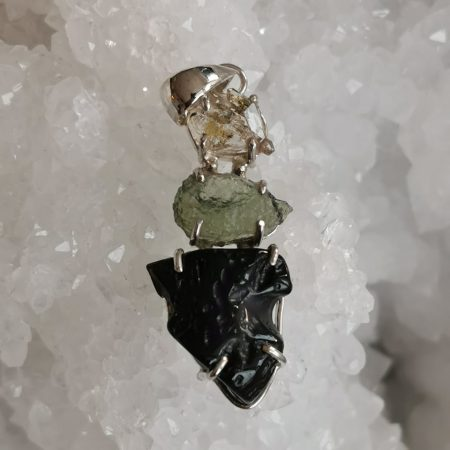 HQ Moldavite Herkimer Diamond Tektite Trio Pendant by Mark Bajerski 5.70 grams