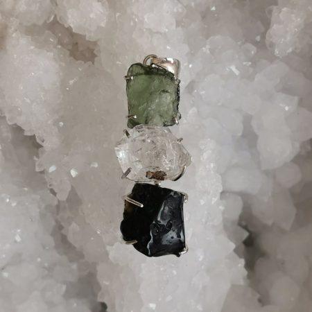 HQ Moldavite Herkimer Diamond Tektite Trio Pendant by Mark Bajerski 11.60 grams