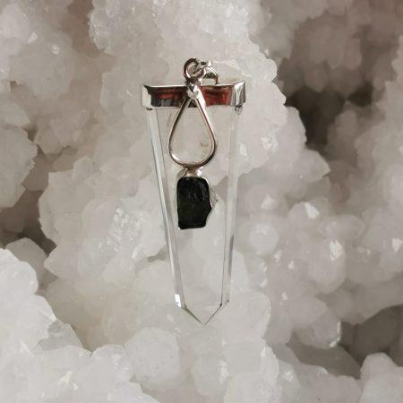 HQ Moldavite & Clear Quartz Pendant by Mark Bajerski