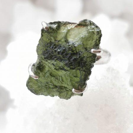 Moldavite AA Ring by Mark Bajerski 6.80grams