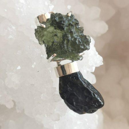 HQ Moldavite & Tektite Pendant by Mark Bajerski 9.20 grams