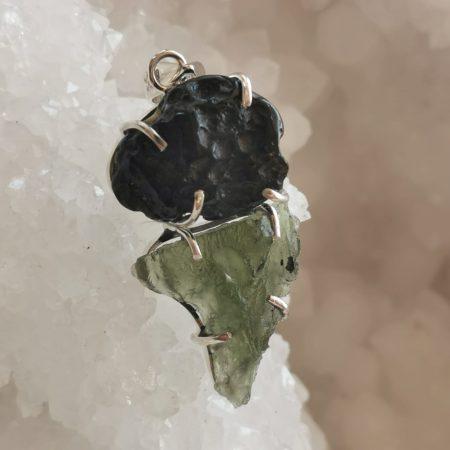 HQ Moldavite & Tektite Pendant by Mark Bajerski 7.90 grams