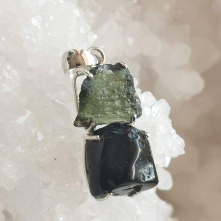 HQ Moldavite & Tektite Pendant by Mark Bajerski 6.90 grams