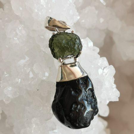 HQ Moldavite & Tektite Pendant by Mark Bajerski 6.70 grams