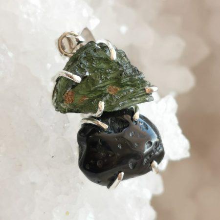 HQ Moldavite & Tektite Pendant by Mark Bajerski 8.00 grams