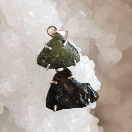 HQ Moldavite & Tektite Pendant by Mark Bajerski 6.60 grams