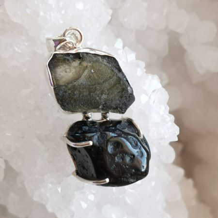 HQ Moldavite Herkimer Diamond Tektite Trio Pendant by Mark Bajerski 9.20 grams
