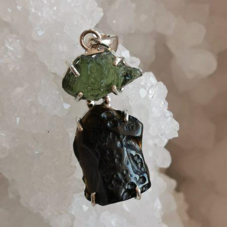 HQ Moldavite Herkimer Diamond Tektite Trio Pendant by Mark Bajerski 6.60 grams