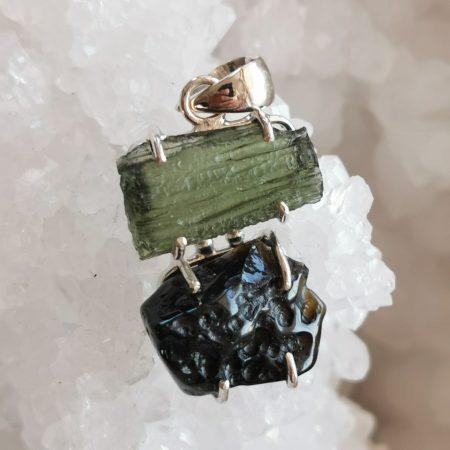 HQ Moldavite Herkimer Diamond Tektite Trio Pendant by Mark Bajerski 6.10 grams